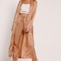 Missguided - Eyelet Duster Jacket Nude
