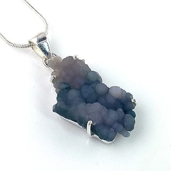 Grape Agate Rough Cluster Sterling Silver Pendant