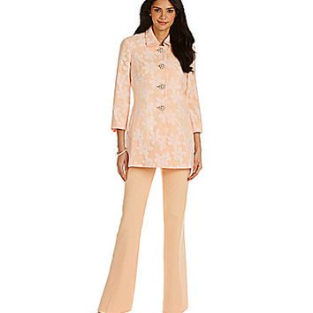 JM Studio by John Meyer Floral Pant Suit - Creamsicle/White