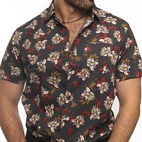 Grey Lush Floral Print Short Sleeve Shirt - Vince