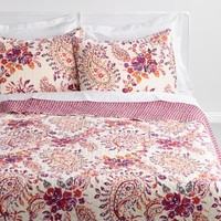 Purple and Ivory Paisley Elizabeth Reversible Quilt