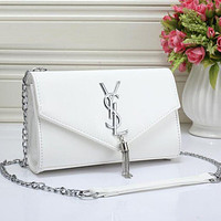 YSL Fashion Tassel Pure Color Metal Leather Chain Shoulder Bag Crossbody White I