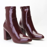 Raya Pointed Toe Ankle Boots in Bordeaux Patent