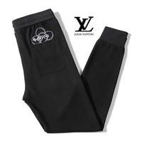 LV Louis Vuitton Fashion Men Casual Embroidery Running Pants Trousers Sweatpants