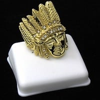 14K Gold Plated Hip Hop Indian Chief Face