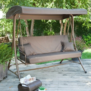 3-Person Convertible Canopy Swing Patio Bed in Chocolate