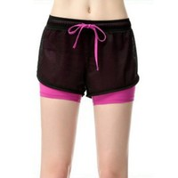 Summer Women Cotton Mesh Shorts Casual Two Layer Breathable Quick-drying Cool Wear Drawstring Short Pants
