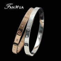 FANHUA New Silver And Rose Gold Plated Concise Bracelets for Women and Bangles With Rhinestone Bijuterias For Women