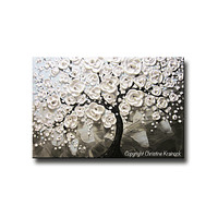 SOLD ORIGINAL Art Abstract Painting White Flowering Cherry Tree Flowers Large Art Textured Blue Grey Taupe