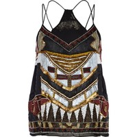 Black sequin embellished cami top - cami / sleeveless tops - tops - women
