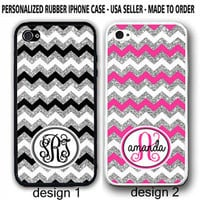 HOT PINK SILVER BLACK CHEVRON PERSONALIZED MONOGRAM CASE FOR IPHONE 6S 7 5 SE 5C