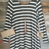 Addicted to you Striped Swing Dress: Olive