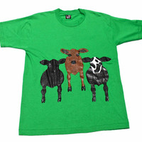 Vintage 1980s Hand Painted Cows Shirt Made in USA Mens Size Large