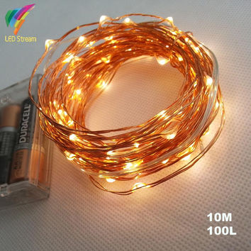 AA Battery Operated 33FT 10M 100 led Christmas Holiday Wedding Party  Decoration Festi LED Copper Wire String Fairy Lights Lamps