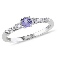 3.5mm Tanzanite, Lab-Created White Sapphire and Diamond Accent Ring in Sterling Silver - View All Jewelry - Gordon's Jewelers