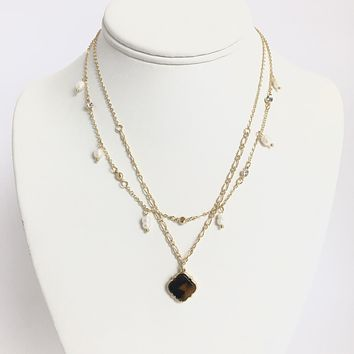 Tiger Stripe Layered Gold Necklace