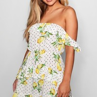 Lemon + Polka Dot Ruffle Shoulder Mini Dress | Boohoo