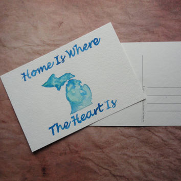 Custom State Postcards - Love my state - Home is where the Heart is - SamIamArt