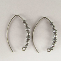 Hoop Earrings Hypoallergenic Titanium Wire Oxidized Sterling Beads Minimalist