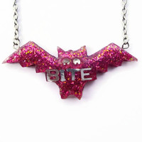 Bite Bat Necklace, Halloween Jewelry, Halloween Necklace, Bat Necklace, Bat Pendant, Glitter Gray Bat Necklace, Creepy and Cute