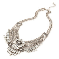 FOREVER 21 Mixed Chain Bib Necklace Silver/Clear One