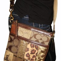 RARE COACH PATCHWORK QUILTED MESSENGER CROSSBODY BAG PURSE BROWN ANIMAL PRINTS