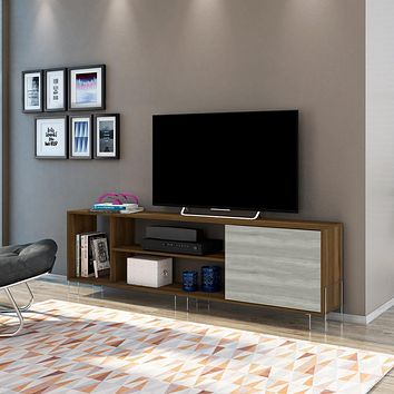 "71"" Wooden TV Stand with 3 Compartments, Brown and White By The Urban Port"