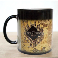 Free shipping 1Pcs Harry Potter Marauders Map Magic Hot Cold Heat Temperature Sensitive Color-Changing Coffee Tea Milk Mug Cup