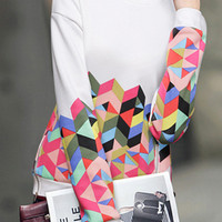 White Geometric Printed Zippered Sweatshirt