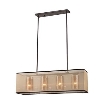 Diffusion 4-Light Chandelier in Oiled Bronze with Organza and Mercury Glass