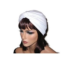 Handmade White Twist Turban, Soft Poly Lycra