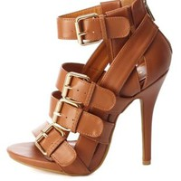Buckled & Belted Strappy High Heels by Charlotte Russe - Cognac
