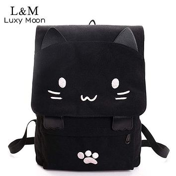 Cute Cat Backpack - Embroidery Backpacks - Girls School Bag
