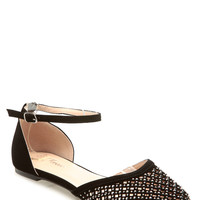 Black Faux Suede Netted Ankle Strap Flats