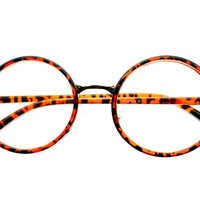 Clear Lens Retro Round Eye Glasses Tortoise R1013