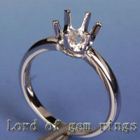 Engagement Semi Mount Ring 14K White Gold Setting Round 6.5mm Solitaire