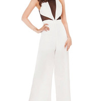 White Mesh Panel Empire Halter Jumpsuit