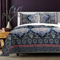 Boho Bungalow 3-piece Navy Quilt Set