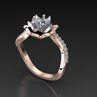 """Women's engagement ring """"Le Fleur"""" diamond and white sapphire ring"""