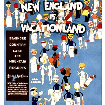 New England Is Vacationland Travel Poster