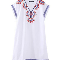 Women's Ethnic Embroidery Geometric Floral Cotton V Neck Shift Dress Chic Contrast color Sleeveless Short Dresses