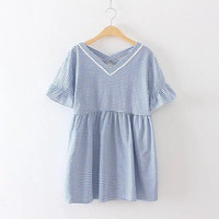 Striped Lattice Back Ruffled Sleeve Dress