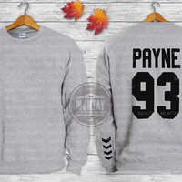Liam Payne Tattoos One Direction 1D Crewneck  Sweatshirt  Sweater and Hoodie Jumper color grey white ADD PAYNE 93 screenprint front and back