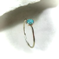 Stacking Ring Gold MMS11 Green Fire Opal