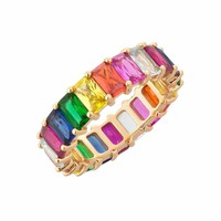 Gold filled fashion jewelry rainbow square baguette cz engagement ring for women colorful cubic zirconia cz eternity band ring