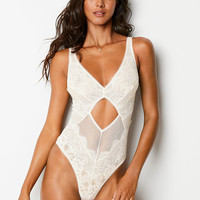 Floral Lace & Stripe Cutout Teddy - Dream Angels - Victoria's Secret