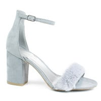 Susie37 Gray by Wild Diva, Gray retro block heel w faux fur toe trimming ankle strap