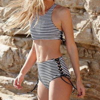 Striped Print High Waisted Swimsuit