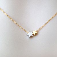 Double, star, necklace, two, star, necklace, star, jewelry, minimal, simple, gift, jewelry, for, her, sister, necklace, best, friend