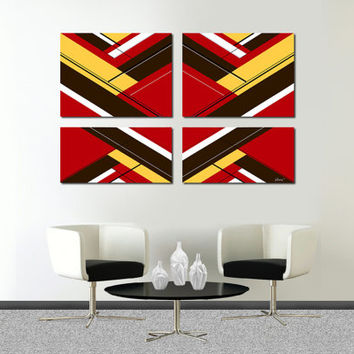"Original abstract painting. 4 piece canvas art. 51x33"" Large painting with red, yellow, brown. Huge painting. Red painting"